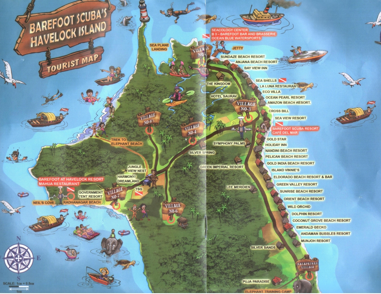Map of  barefoot scuba havelock island