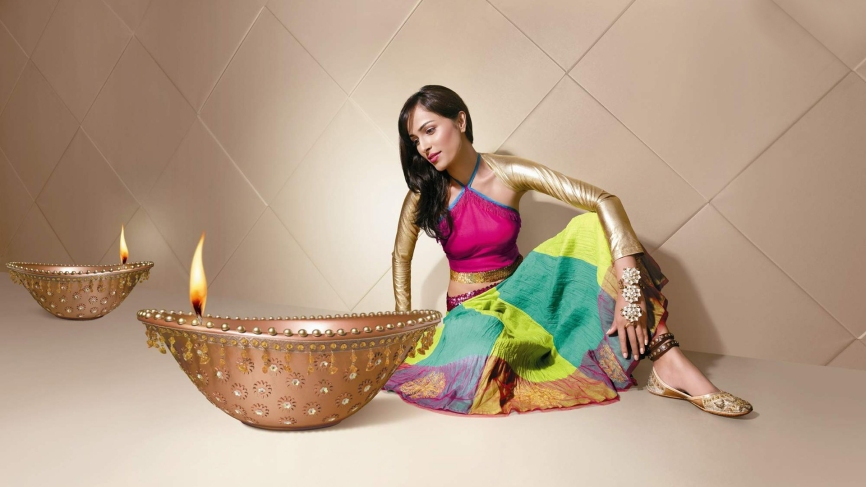 Beautiful Girls In Diwali Celebration