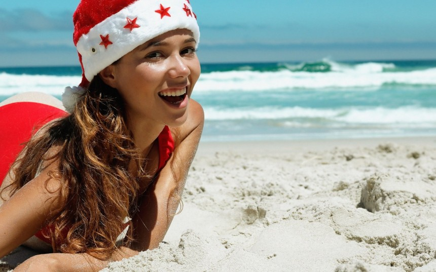 Christmas Santa Claus Girls Beach