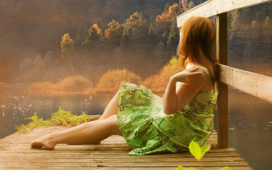 autumn-lake-backrounds-girl-art-wallpapers-painting