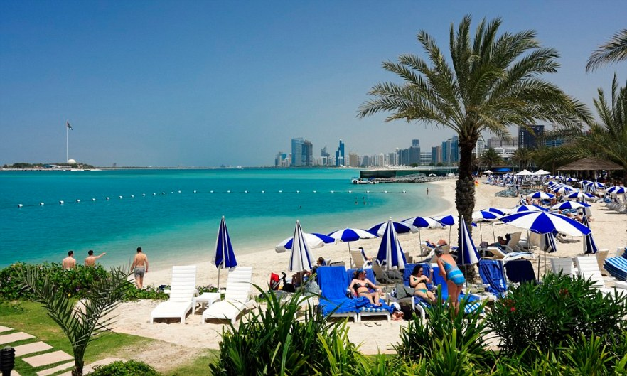 Hiltonia Beach Club on the Corniche of Abu Dhabi City, Emirate Abu Dhabi, U. A. E.